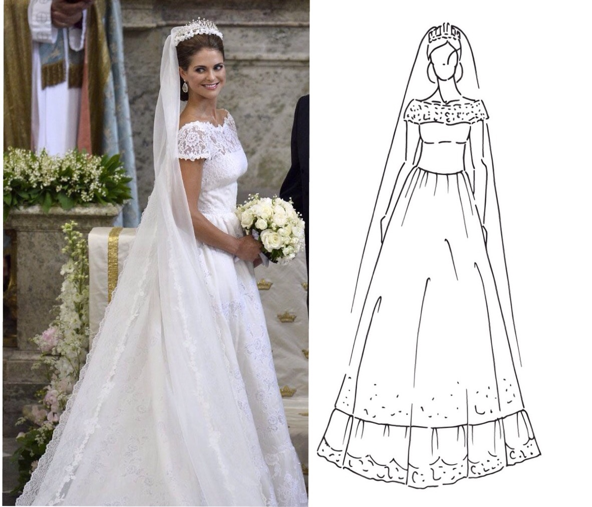 Vestido novia crepe y encaje