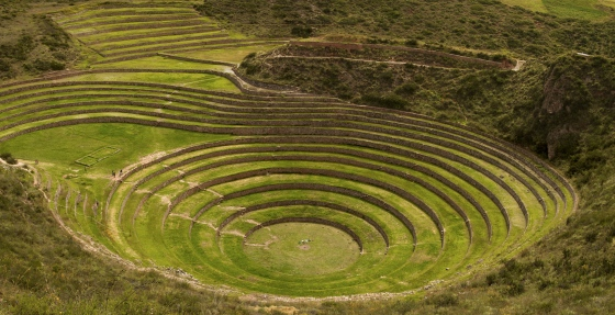 The gorgeous circular terraced bowl of Moray are thought to be an experimental agricultural nursery for the Incas, with different micro-climates allowing for different varieties of corn to be planted at deeper levels of the circular bowl.
